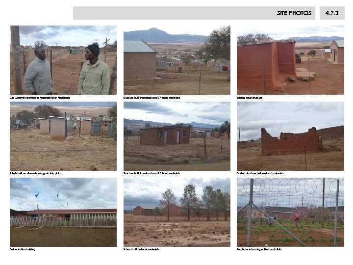 SITE PHOTOS Sub Committee member responsible for Rocklands Structure built from local and 2