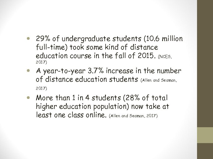 29% of undergraduate students (10. 6 million full-time) took some kind of distance