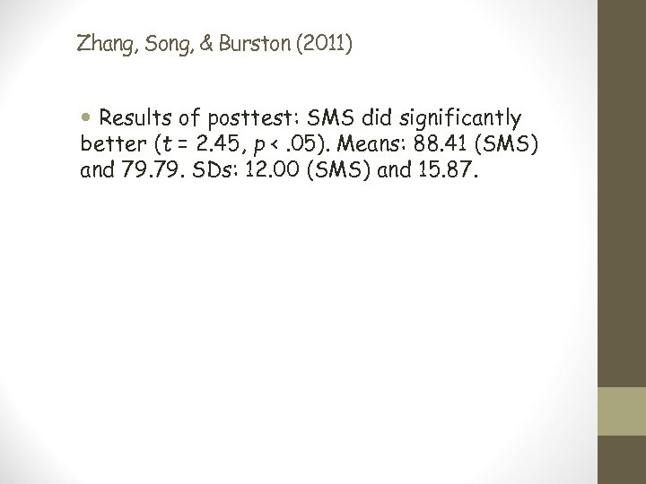 Zhang, Song, & Burston (2011) Results of posttest: SMS did significantly better (t =
