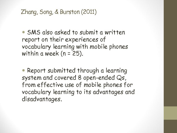 Zhang, Song, & Burston (2011) SMS also asked to submit a written report on