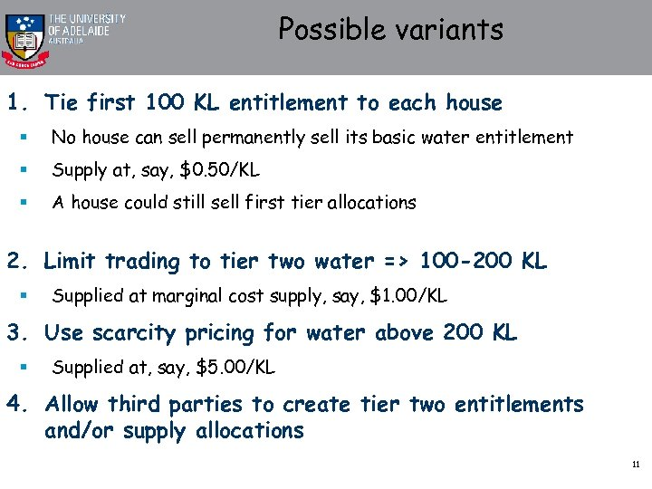 Possible variants 1. Tie first 100 KL entitlement to each house § No house