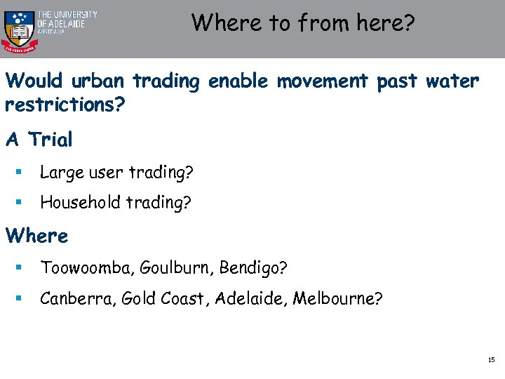Where to from here? Would urban trading enable movement past water restrictions? A Trial