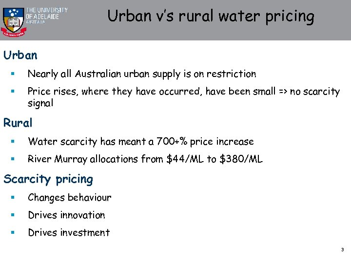 Urban v's rural water pricing Urban § Nearly all Australian urban supply is on