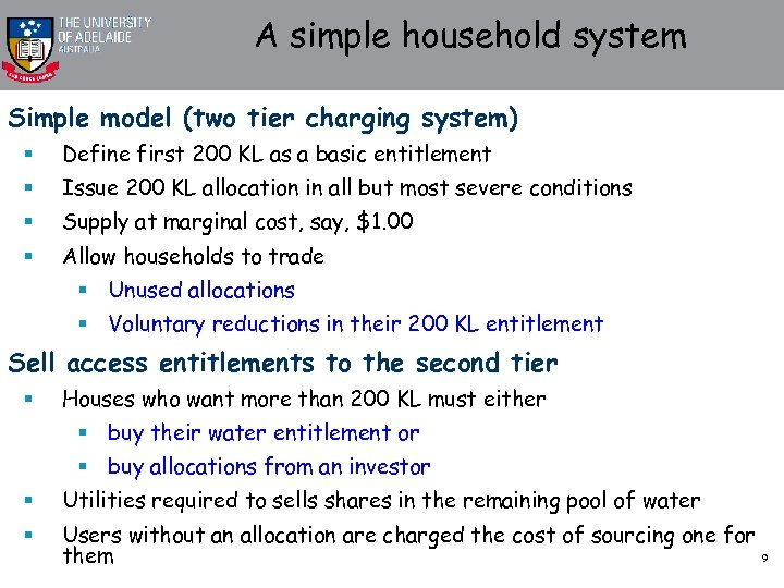 A simple household system Simple model (two tier charging system) § Define first 200