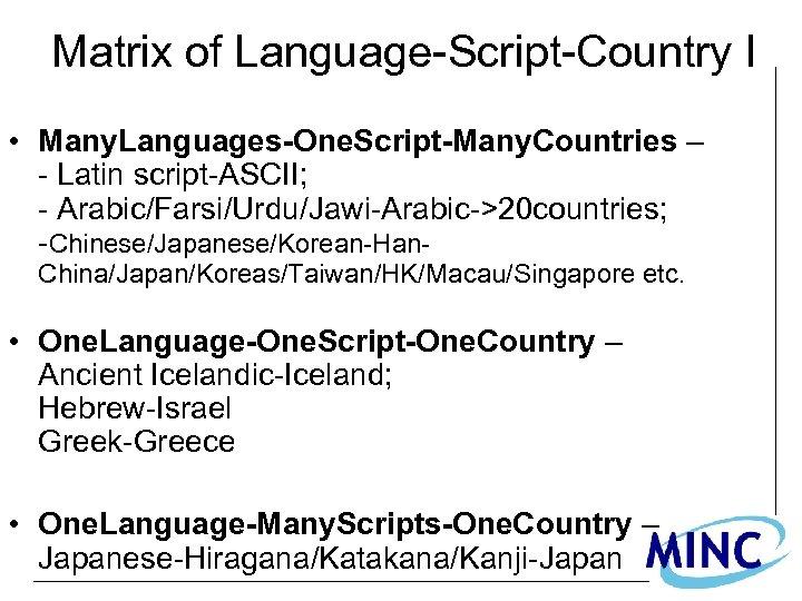 Matrix of Language-Script-Country I • Many. Languages-One. Script-Many. Countries – - Latin script-ASCII; -