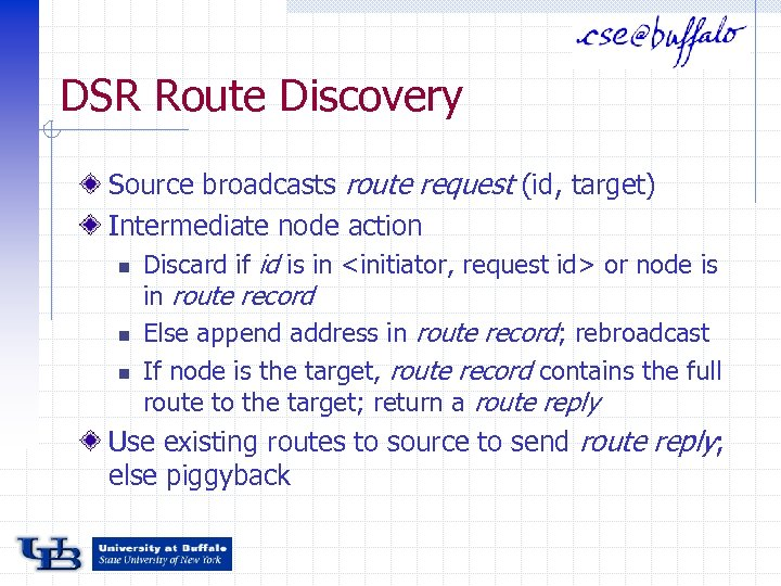 DSR Route Discovery Source broadcasts route request (id, target) Intermediate node action n Discard