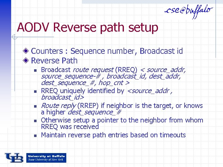 AODV Reverse path setup Counters : Sequence number, Broadcast id Reverse Path n n