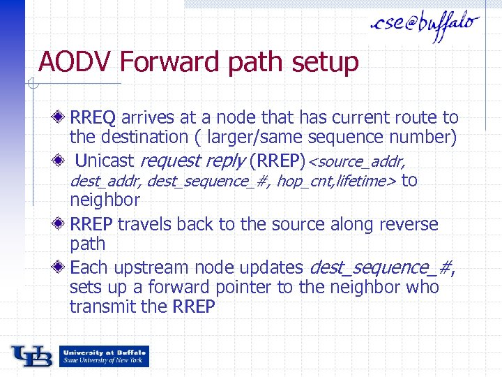 AODV Forward path setup RREQ arrives at a node that has current route to