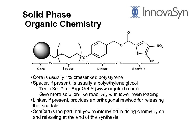 Solid Phase Organic Chemistry • Core is usually 1% crosslinked polystyrene • Spacer, if
