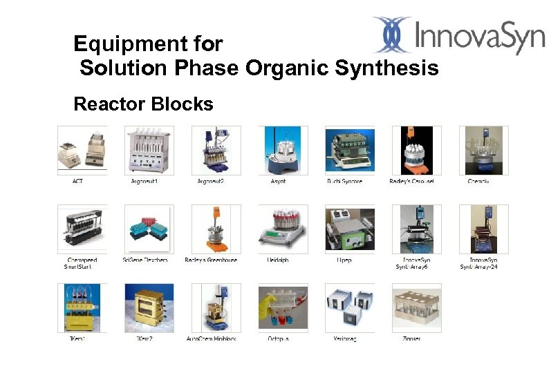 Equipment for Solution Phase Organic Synthesis Reactor Blocks