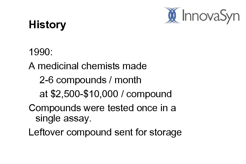 History 1990: A medicinal chemists made 2 -6 compounds / month at $2, 500