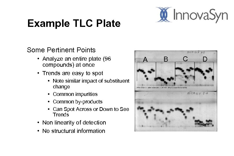 Example TLC Plate Some Pertinent Points • Analyze an entire plate (96 compounds) at