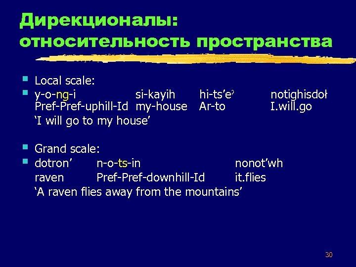 Дирекционалы: относительность пространства § § Local scale: y-o-ng-i si-kayih Pref-uphill-Id my-house 'I will go