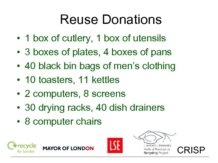 Reuse Donations • • 1 box of cutlery, 1 box of utensils 3 boxes