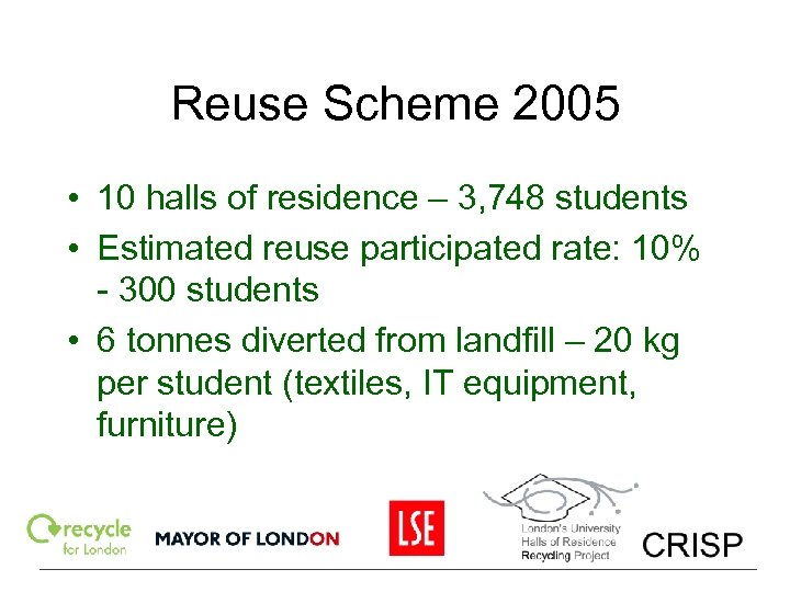 Reuse Scheme 2005 • 10 halls of residence – 3, 748 students • Estimated