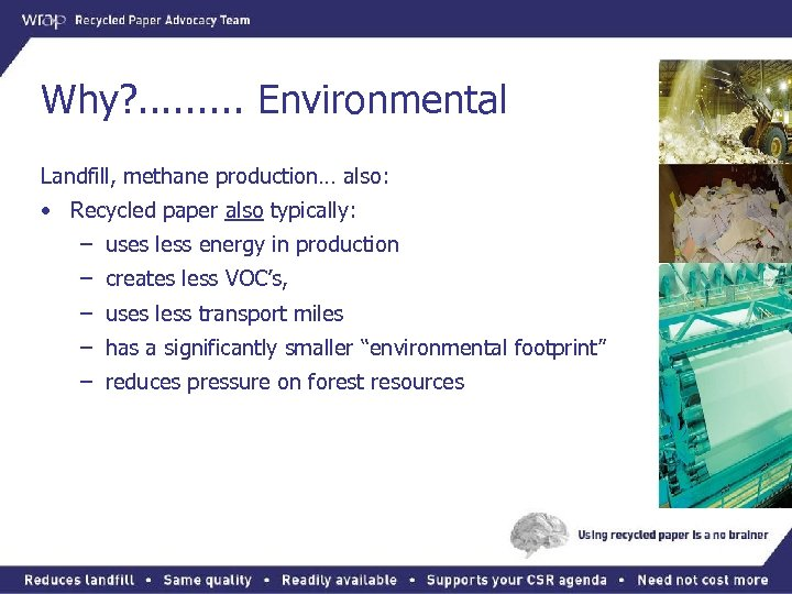 Why? . . Environmental Landfill, methane production… also: • Recycled paper also typically: –