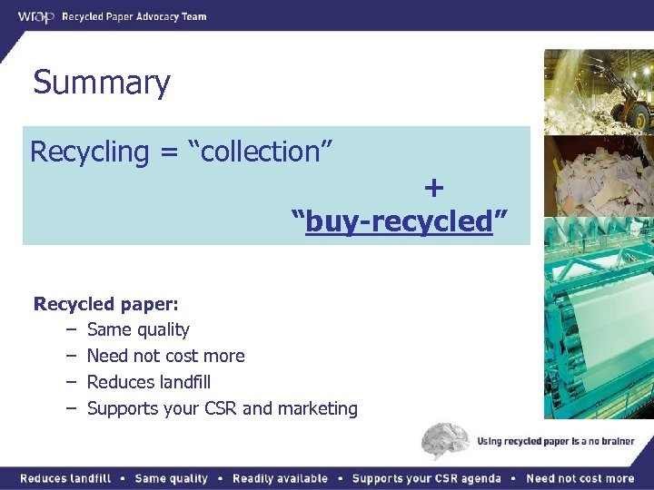 """Summary Recycling = """"collection"""" + """"buy-recycled"""" Recycled paper: – Same quality – Need not"""