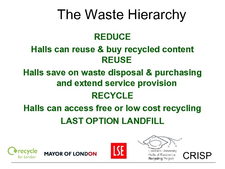 The Waste Hierarchy REDUCE Halls can reuse & buy recycled content REUSE Halls save
