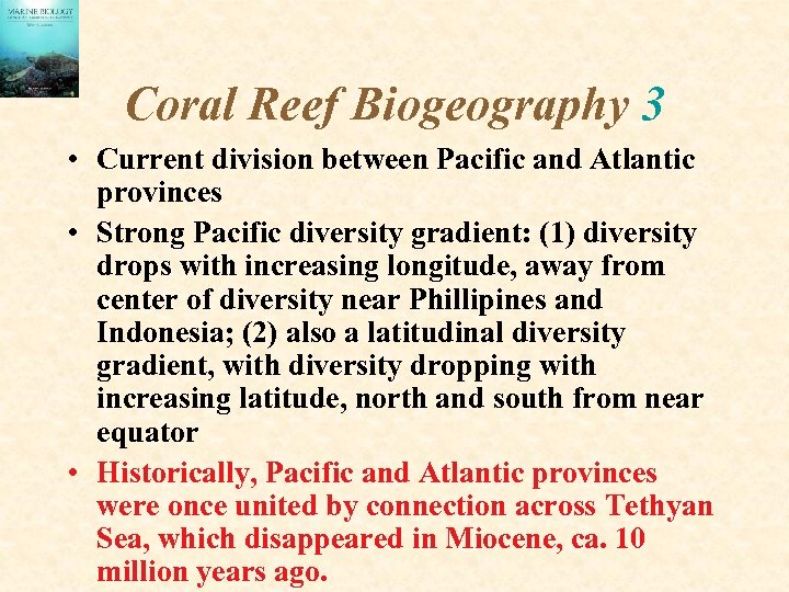 Coral Reef Biogeography 3 • Current division between Pacific and Atlantic provinces • Strong