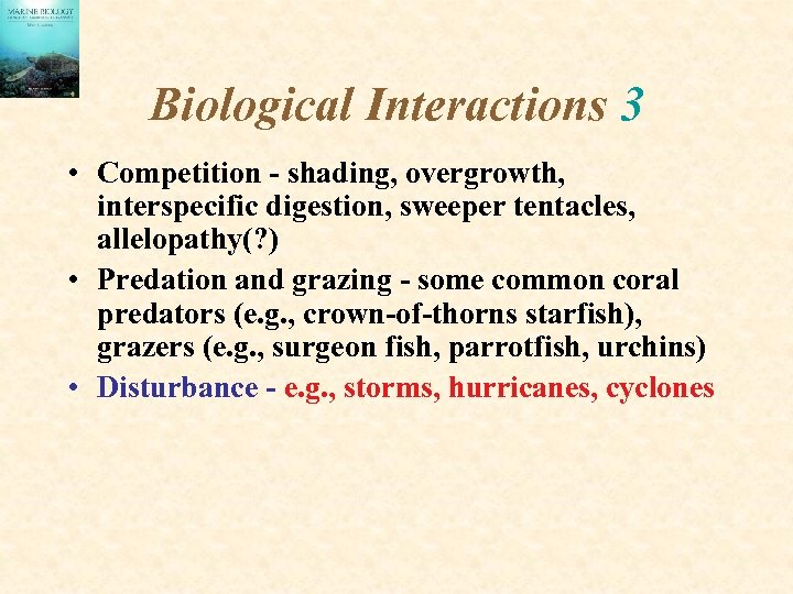 Biological Interactions 3 • Competition - shading, overgrowth, interspecific digestion, sweeper tentacles, allelopathy(? )