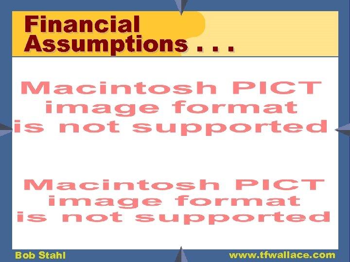 Financial Assumptions. . . Bob Stahl www. tfwallace. com