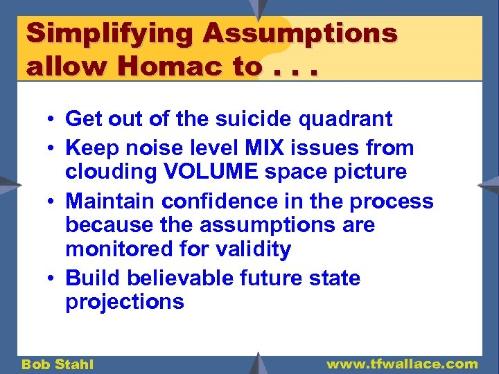 Simplifying Assumptions allow Homac to. . . • Get out of the suicide quadrant