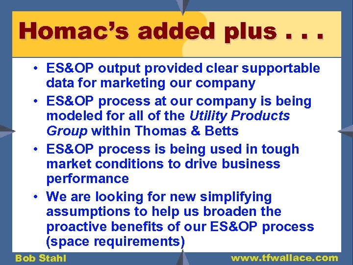 Homac's added plus. . . • ES&OP output provided clear supportable data for marketing