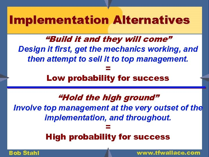 """Implementation Alternatives """"Build it and they will come"""" Design it first, get the mechanics"""