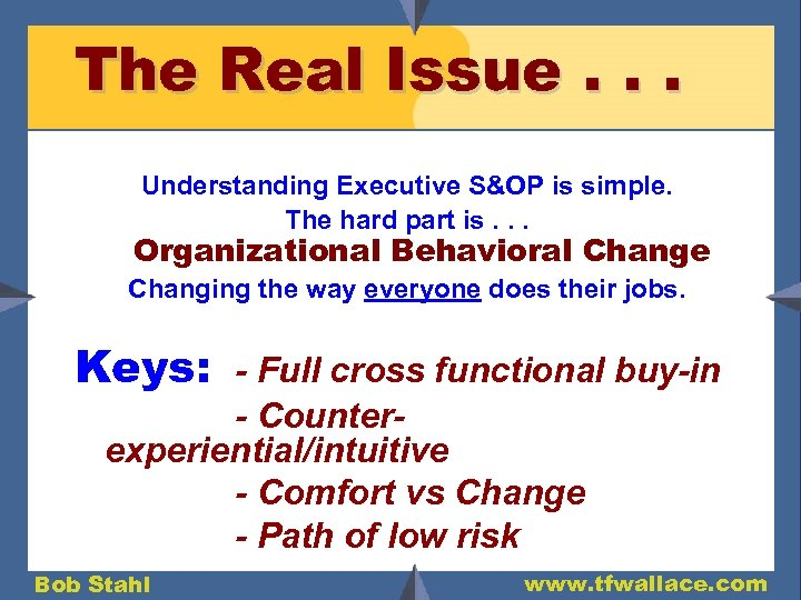 The Real Issue. . . Understanding Executive S&OP is simple. The hard part is.