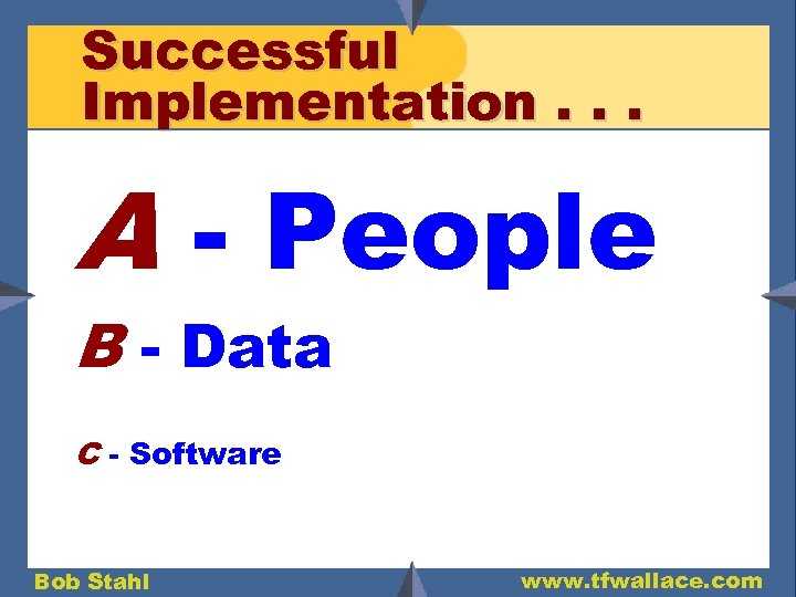 Successful Implementation. . . A - People B - Data C - Software Bob