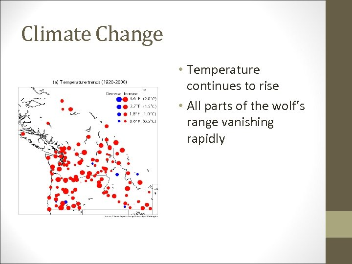 Climate Change • Temperature continues to rise • All parts of the wolf's range