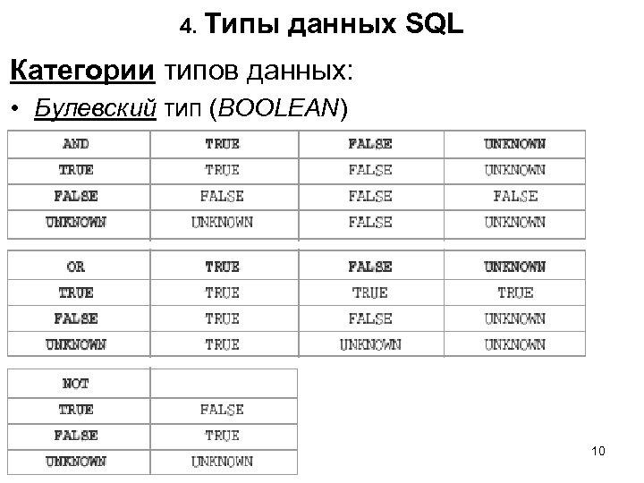 4. Типы данных SQL Категории типов данных: • Булевский тип (BOOLEAN) 10