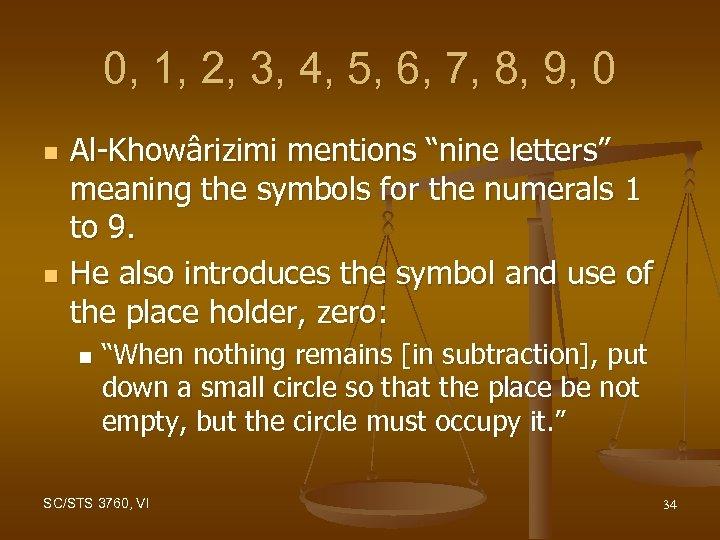0, 1, 2, 3, 4, 5, 6, 7, 8, 9, 0 n n Al-Khowârizimi