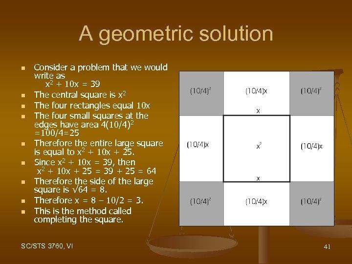 A geometric solution n n n n Consider a problem that we would write