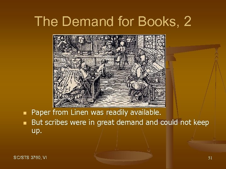 The Demand for Books, 2 n n Paper from Linen was readily available. But