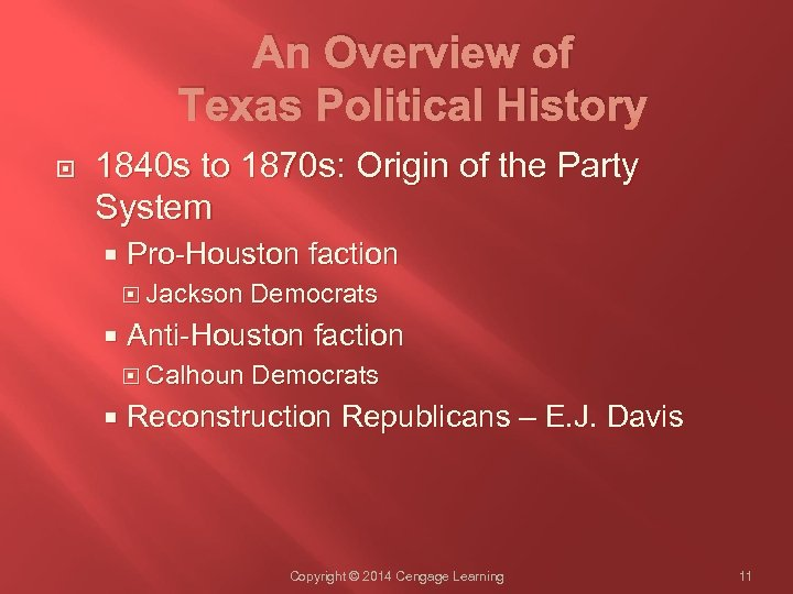 An Overview of Texas Political History 1840 s to 1870 s: Origin of the