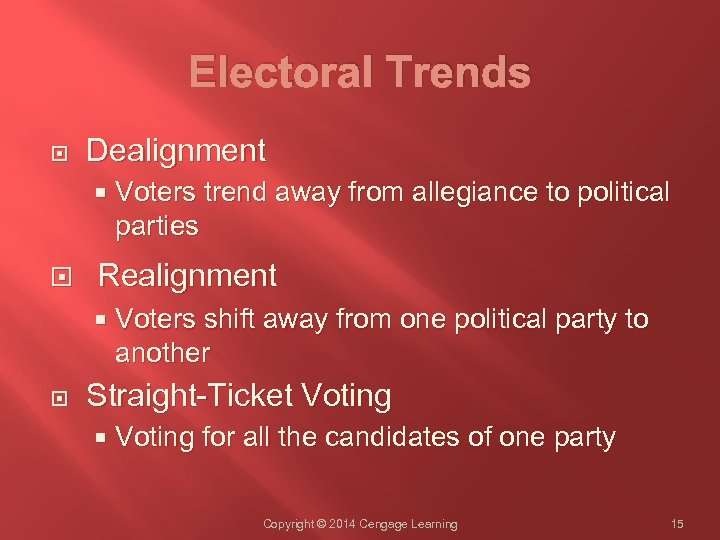 Electoral Trends Dealignment Realignment Voters trend away from allegiance to political parties Voters shift