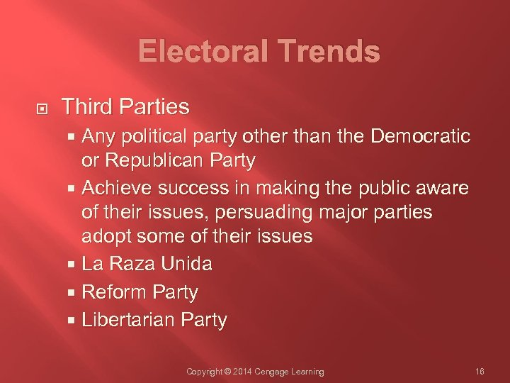 Electoral Trends Third Parties Any political party other than the Democratic or Republican Party