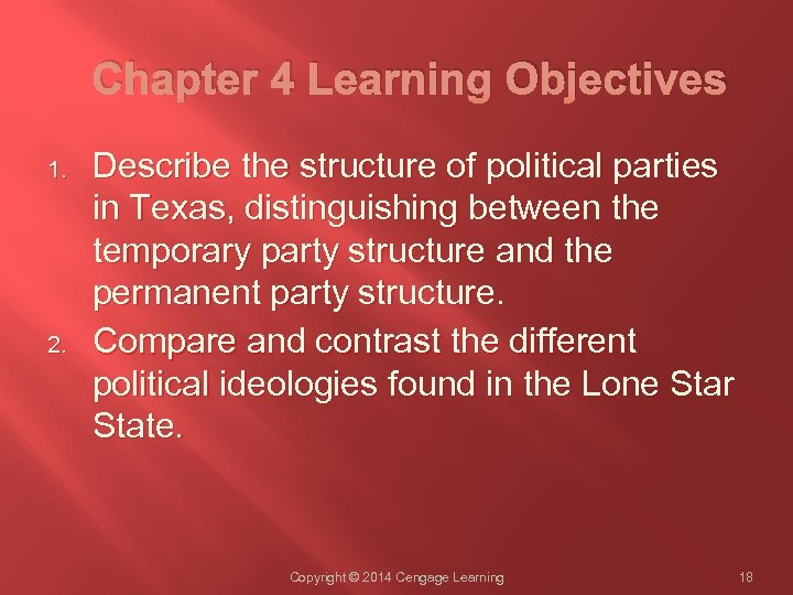 Chapter 4 Learning Objectives 1. 2. Describe the structure of political parties in Texas,