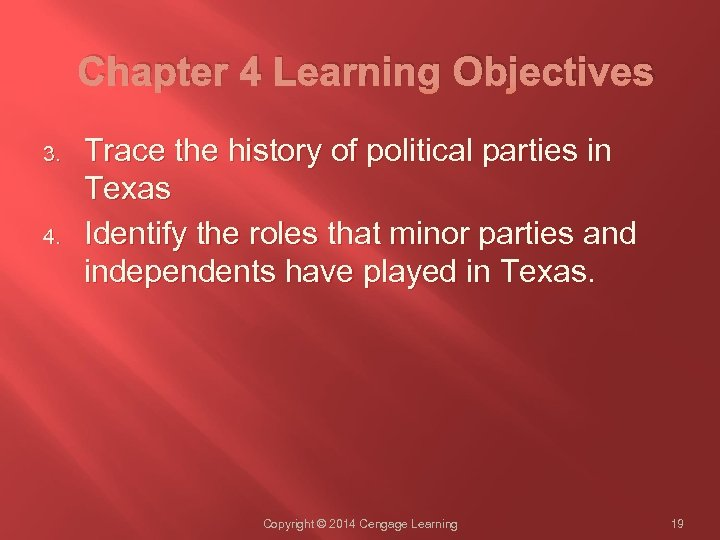 Chapter 4 Learning Objectives 3. 4. Trace the history of political parties in Texas