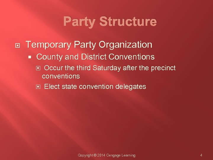 Party Structure Temporary Party Organization County and District Conventions Occur the third Saturday after