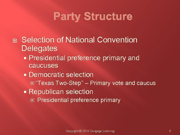 Party Structure Selection of National Convention Delegates Presidential preference primary and caucuses Democratic selection