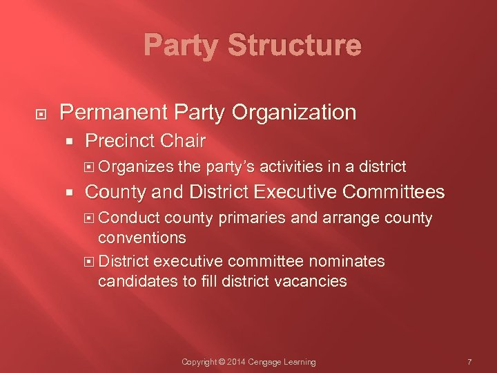 Party Structure Permanent Party Organization Precinct Chair Organizes the party's activities in a district
