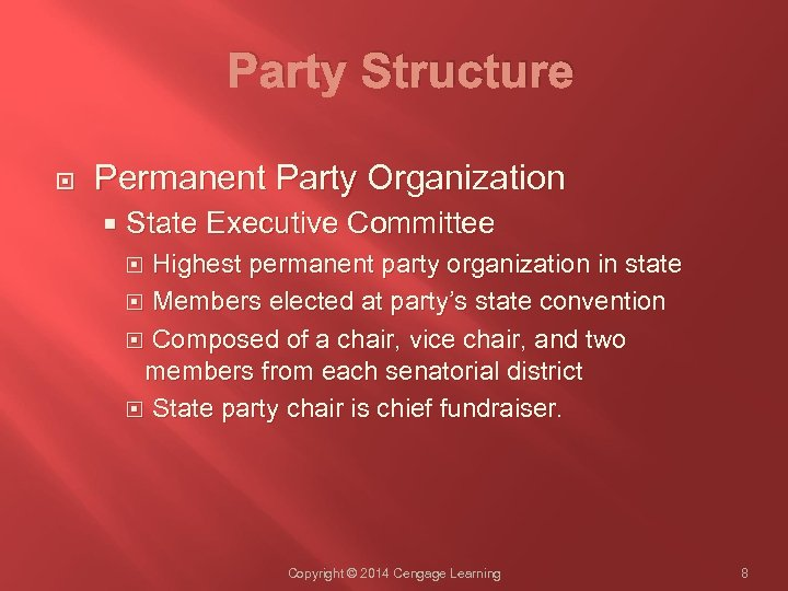 Party Structure Permanent Party Organization State Executive Committee Highest permanent party organization in state