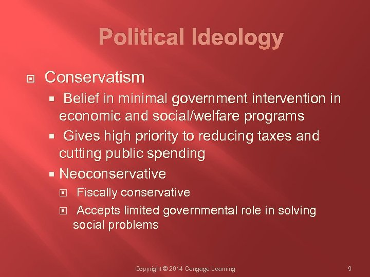 Political Ideology Conservatism Belief in minimal government intervention in economic and social/welfare programs Gives