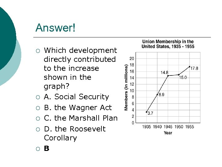 Answer! ¡ ¡ ¡ Which development directly contributed to the increase shown in the