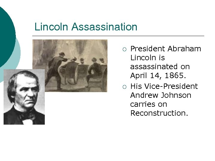 Lincoln Assassination ¡ ¡ President Abraham Lincoln is assassinated on April 14, 1865. His