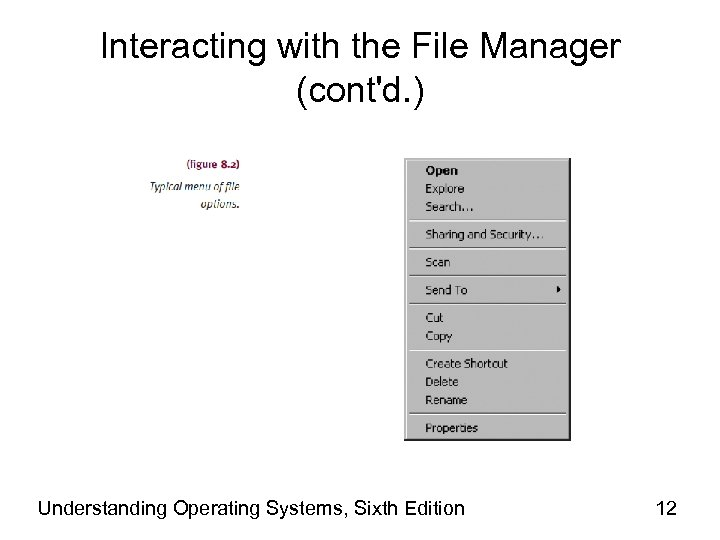 Interacting with the File Manager (cont'd. ) Understanding Operating Systems, Sixth Edition 12