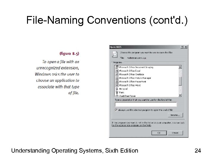 File-Naming Conventions (cont'd. ) Understanding Operating Systems, Sixth Edition 24