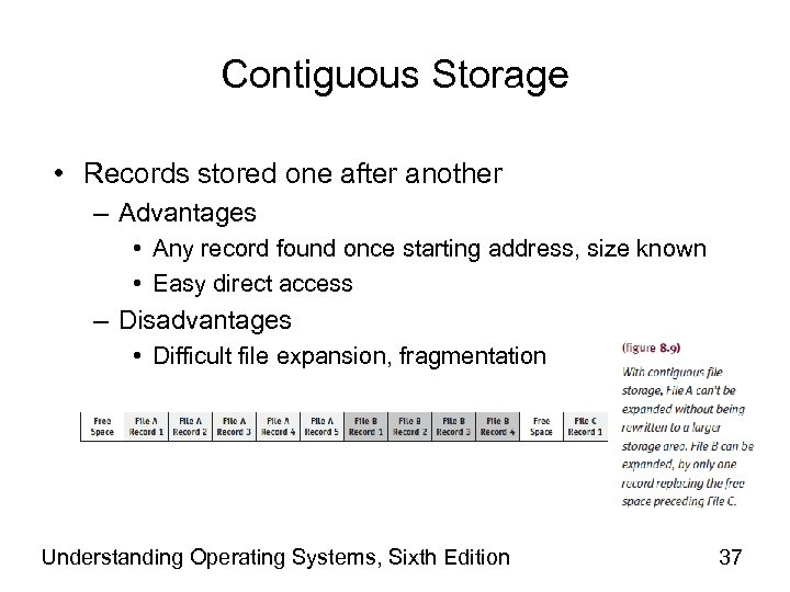 Contiguous Storage • Records stored one after another – Advantages • Any record found